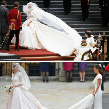 Diana on her Wedding Day on July 29, 1981. She wore a David and Elizabeth Emanuell ivory silk taffeta and antique lace gown, with a 25-foot train.