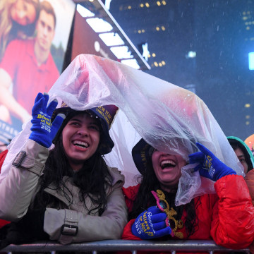 Image: Revelers celebrate New Year's Eve in Times Square in the Manhattan borough of New York
