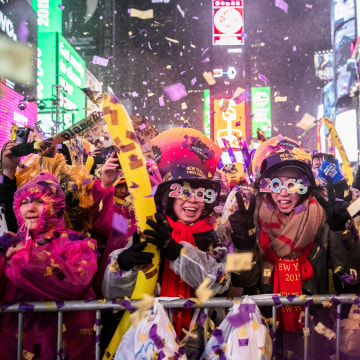 Image: Revelers celebrate New Year's Eve in Times Square in Manhattan