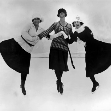 Figure skaters pose at the 1924 winter Olympics in Chamonix, France, in 1924. Left to right: Herma Planck-Szabo of Hungary, Ethel Muckelt of Britain and Beatrix Loughran of the U.S.A. Planck-Szabo won gold, with Loughran and Muckelt taking silver and bronze respectively. According to thisisinsider.com, http://www.thisisinsider.com/olympic-figure-skating-dress-evolution-2018-2 When the inaugural Winter Olympics launched in Chamonix, France, in 1924, wool skirts and cozy sweaters dominated the ice.