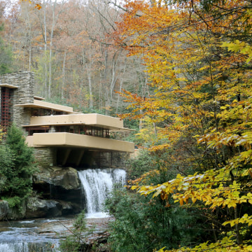 Frank Lloyd Wright's architectural masterpiece Fallingwater, the summer home commissioned by Pittsburgh department store owner Edgar Kaufmann in 1938, in Mill Run, Pennsylvania.