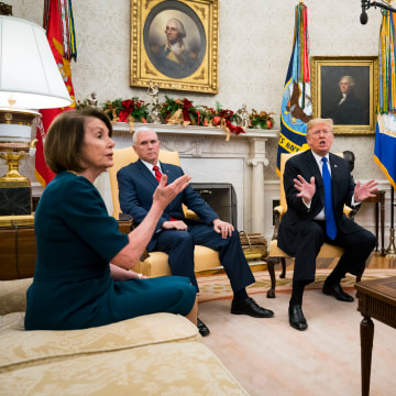 Image: President Donald Trump and Vice President Mike Pence meet with House Minority Leader Nancy Pelosi (D-Calif.) and Senate Minority Leader Chuck Schumer (D-N.Y.) at the White House in Washington.