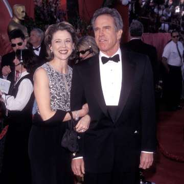 Actress Annette Bening and actor Warren Beatty attend the 71st Annual Academy Awards on March 21, 1999 at Dorothy Chandler Pavilion, Los Angeles Music Center in Los Angeles, California. (Photo by Ron Galella, Ltd./WireImage)