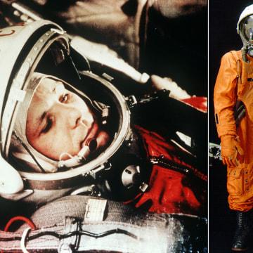 ARCHIV - Das Archivbild vom April 1961 zeigt den sowjetischen Kosmonauten Juri Gagarin in seinem Raumanzug kurz vor seinem Start zum ersten bemannten Weltraumflug. Photo by: Lehtikuva/picture-alliance/dpa/AP Images