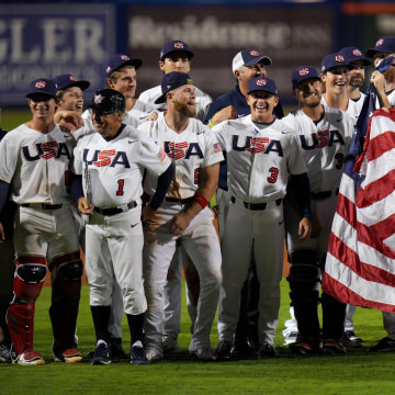 The United States celebrates after defeating Venezuela 4-2  during the WBSC Baseball Americas Qualifier Super Round at Clover Park June 05, 2021 in Port St. Lucie, Florida to qualify for the 2021 Summer Olympic Games in Tokyo.