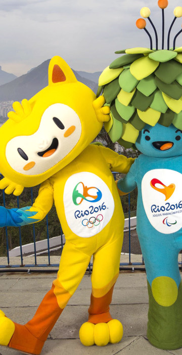 Image: Handout shows the unnamed mascots of the Rio 2016 Olympic and Paralympic Games during their first appearance in Rio de Janeiro