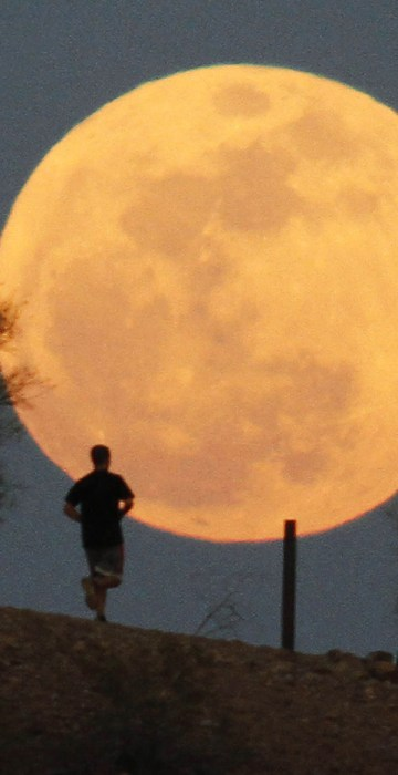 "Image: A runner makes his way along a trail on a butte in front of the ""super Moon""  at Papago Park in Phoenix"