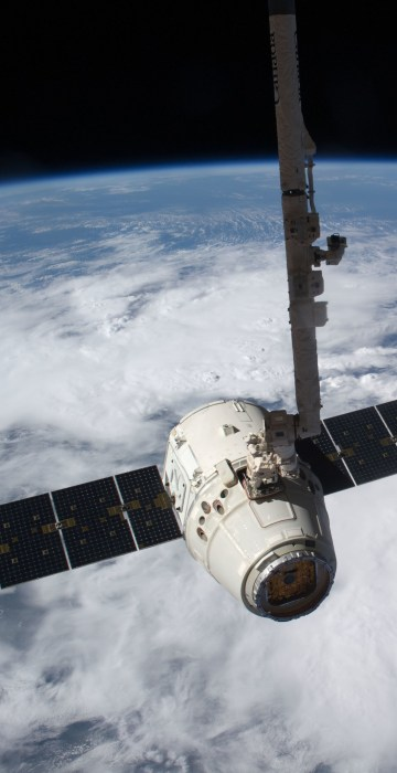 Image: SpaceX Dragon cargo craft just prior to being released by the International Space Station'