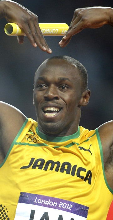 Image: Jamaica's Usain Bolt celebrates after th