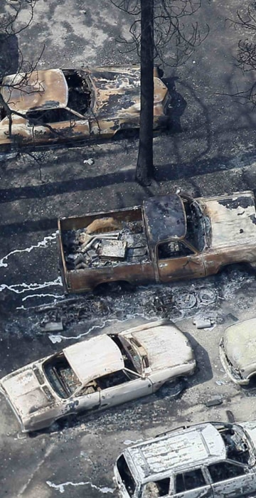 Image: An aerial view of burned out vehicles in the aftermath of the Black Forest Fire in Black Forest, Colorado