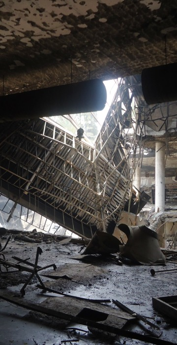 A section of the Westgate Mall complex collapsed in Nairobi, Kenya.