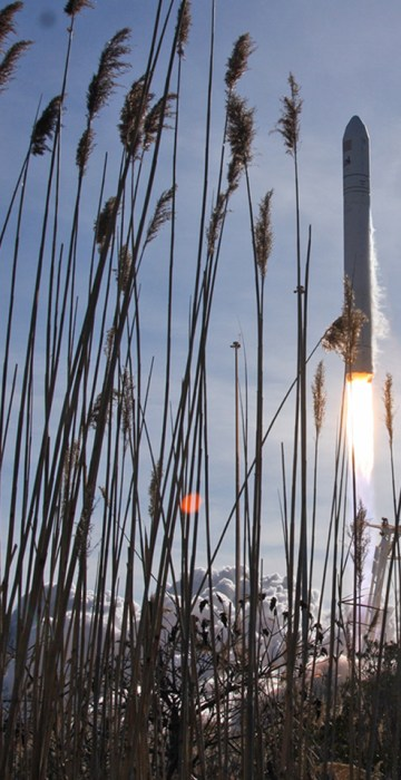 AP10ThingsToSee - An Orbital Sciences Corp. Antares rocket launches from NASA's Wallops Flight Facility in Wallops Island, Va. on Thursday, Jan. 9, 2014. The spacecraft is carrying the company's first official re-supply mission to the International Space Station. NASA, Chris Perry