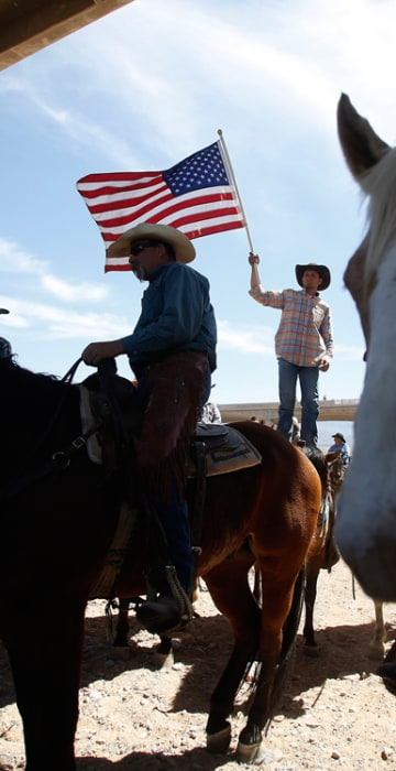 Image: A protester waves the U.S. flag near the Bureau of Land Management's base camp where seized cattle, that belonged to rancher Cliven Bundy, are being held at near Bunkerville