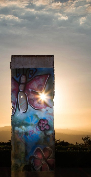Image: A piece of the Berlin Wall, which has been on display at the Ronald Reagan Presidential Library and Museum since 1990, is seen in Simi Valley, California