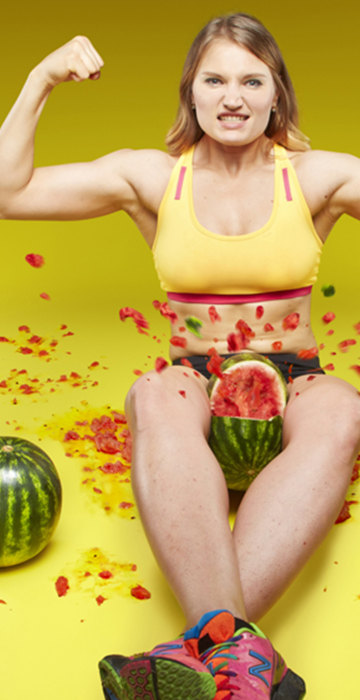 Olga Liashchuk - Fastest time to crush three watermelons with the thighs Guinness World Records 2015 Photo Credit: Paul Michael Hughes/Guinness World Records