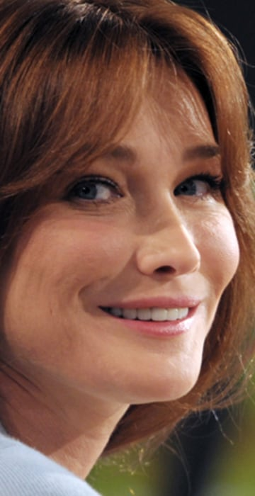 France's first lady Carla Bruni-Sarkozy poses before an interview on the set of French TV channel TF1 in Paris