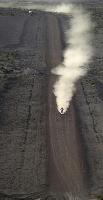 Image:  Toby Price rides his motorcycle during Stage 6 of the Dakar 2016