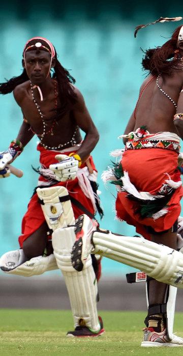 Image: Maasai Warriors from Kenya take a run in a cricket match