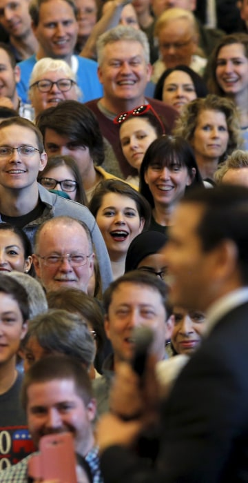 Image: Supporters listen as Republican U.S. presidential candidate Marco Rubio speaks during a campaign stop at Patrick Henry College in Purcellville