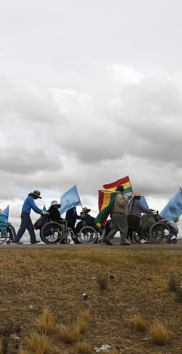 Image: A group of people with disabilities take part in a protest march in Patacamaya, Bolivia