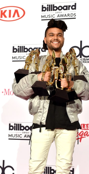 Image: The Weeknd poses in the press room