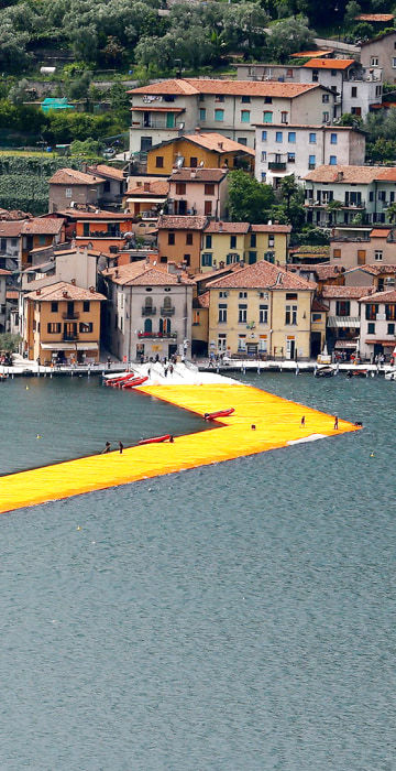 The installation 'The Floating Piers' in Italy.