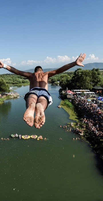 Image: TOPSHOT-HIGHDIVING-KOSOVO-COMPETITION