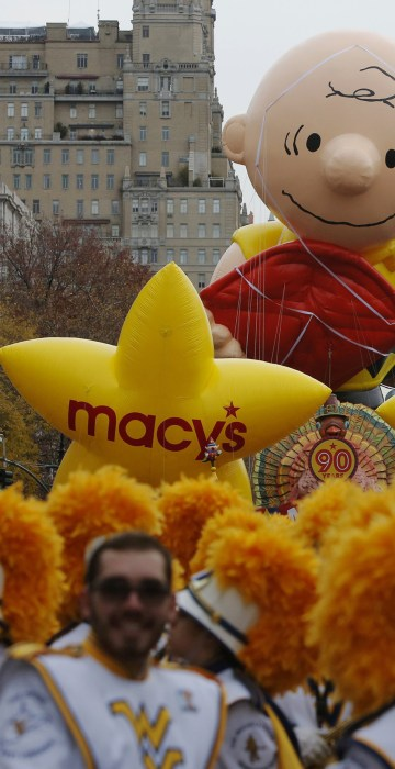 Image: Balloons sit on Central Park West before the 90th Macy's Thanksgiving Day Parade in Manhattan, New York