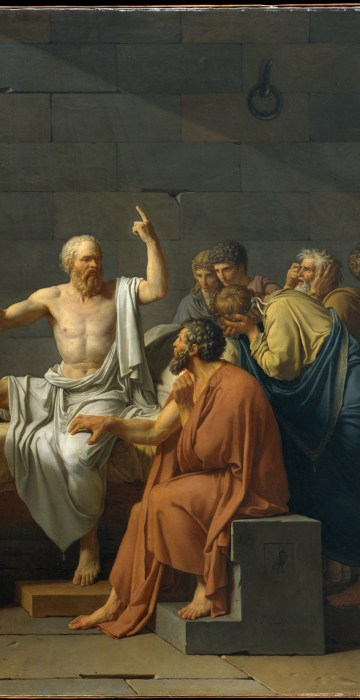 Image: The Death of Socrates, oil on canvas by Jacques Louis David, 1787.