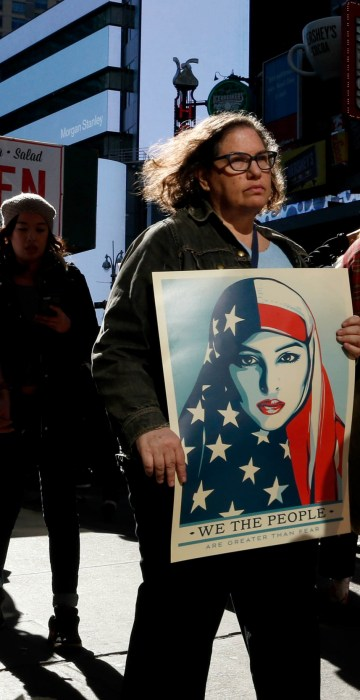 Image: People take part in a rally called 'I Am A Muslim Too' in a show of solidarity with American Muslims at Times Square on Feb.19, 2017 in New York City.