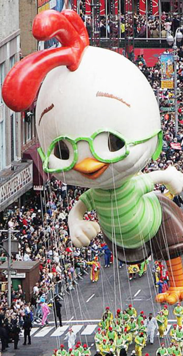 On Nov. 25, 2004, Chicken Little made his debut as a giant helium balloon. He was the star of an animated Disney version of the classic children's tale that debuted in theaters the following July.