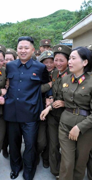 North Korean leader Kim Jong-un (C) visits the Thrice Three-Revolution Red Flag Kamnamu (persimmon tree) Company under the Korean People's Army Unit 4302 in Pyongyang, North Korea on Aug. 24, 2012.