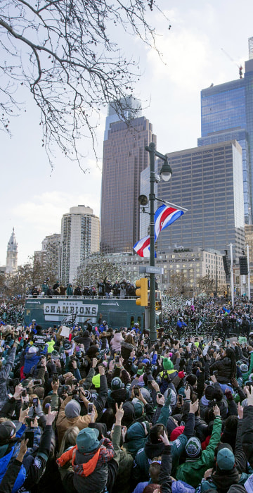 The Philadelphia Eagles drive around the city during the Super Bowl LII parade on Feb. 8, 2018 in Philadelphia.