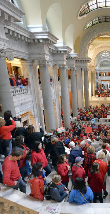 Thousands of teachers from across Kentucky fill the state Capitol to rally for increased funding and to protest last minute changes to their state funded pension system in Frankfort, Kentucky on April 2. This was one of several demonstrations, to include thousands more that filled the state Capitol in Oklahoma, as schools closed and educators called for increased education funding.