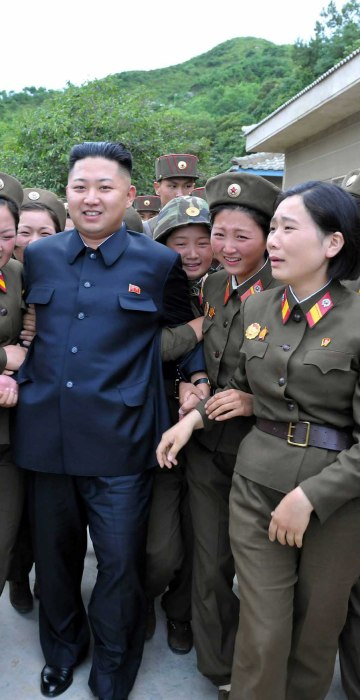 North Korean leader Kim Jong-un (C) visits the Thrice Three-Revolution Red Flag Kamnamu (persimmon tree) Company under the Korean People's Army Unit 4302 in Pyongyang, North Korea on Aug. 24, 2012.