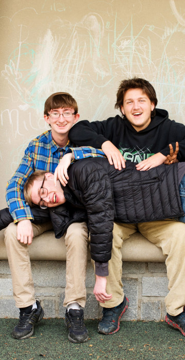 Sean Garner, a 15-year-old with autism, having fun with his friends