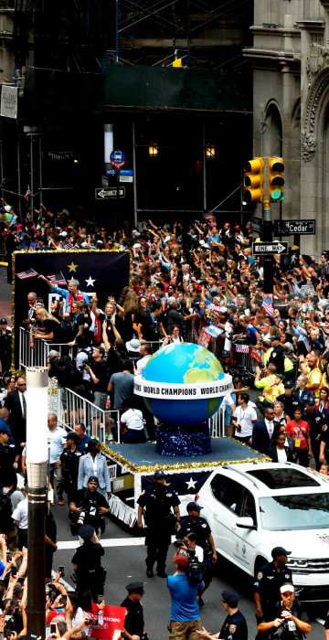 Image: Fans and players celebrate the U.S. women's soccer team's fourth World Cup win with a ticker-tape parade on July 10, 2019.