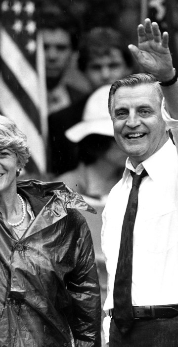 FILE - In this Wednesday, Sept. 5, 1984, file photo, Democratic presidential candidate Walter Mondale and his running mate, Geraldine Ferraro, wave as they leave an afternoon rally in Portland, Ore. Mondale, a liberal icon who lost the most lopsided presidential election after bluntly telling voters to expect a tax increase if he won, died Monday, April 19, 2021. He was 93. (AP Photo/Jack Smith, File)