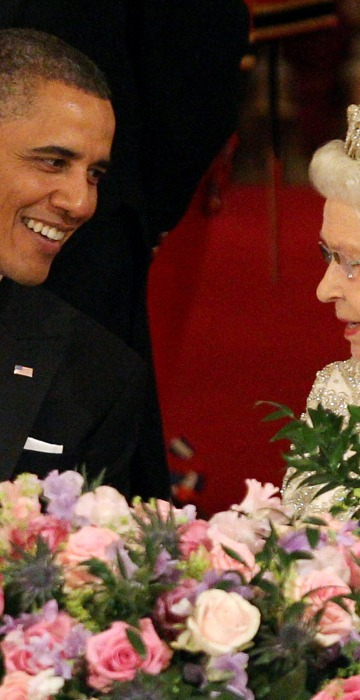 President Barack Obama and Queen Elizabeth II at a state banquet at Buckingham Palace on May 24, 2011 in London, England.