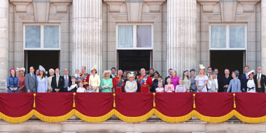 Image: Members of the Royal Family on the balcony of Buckingham Palace to watch a fly-past of aircraft by the Royal Air Force during Trooping The Colour, the Queen's annual birthday parade