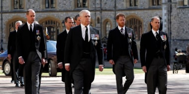 Image: Prince William, Duke of Cambridge, Prince Andrew, Duke of York,  Prince Harry, Duke of Sussex and Prince Edward, Earl of Wessex during the funeral of Prince Philip, Duke of Edinburgh at Windsor Castle