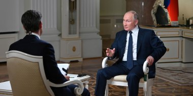 Image: Russian President Vladimir Putin speaks during an interview to NBC News in Moscow