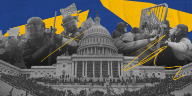 Illustration of photos showing Capitol and Metropolitan police responding to rioters at the Capitol on Jan. 6, 2021.