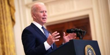 President Joe Biden speaks in the East Room at the White House on Sept. 08, 2021.