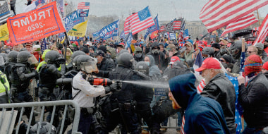 Image: A pro-Trump mob clashes with police and security forces at the Capitol on Jan. 6, 2021.