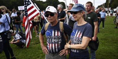 Supporters of former President Donald Trump protest in support of the rioters who stormed the Capitol on Jan. 6 in Washington on Sept. 18, 2021.