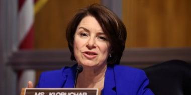 Sen. Amy Klobuchar, D-Minn., asks questions during a Senate hearing on April 27, 2021.