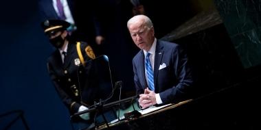 Image: President Joe Biden addresses the United Nations General Assembly in New York on Sept. 21, 2021.