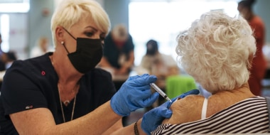 Image: A resident receives the Moderna Covid-19 vaccine at the King's Point retirement home in Delray Beach, Fla., on Dec. 30, 2020.