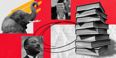 Illustration of a stack of textbooks with scribbles, Martin Luther King Jr., an elephant and an anti-CRT protest sign.